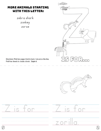 picture relating to Letter Z Printable referred to as Letter Z Printable Reserve - Pets