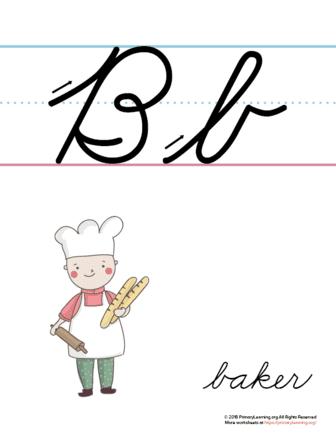 the letter b in cursive