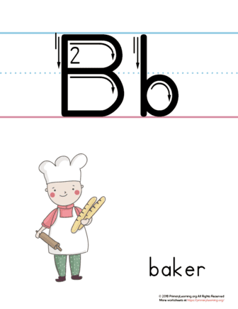 image relating to Printable Letter B identify Printable Letter B Poster (Baker)