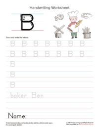 letter b tracing