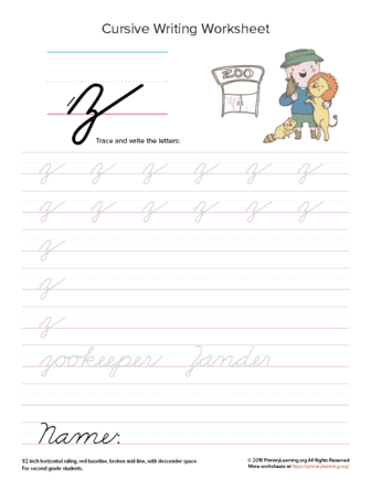 Lowercase Cursive Z Worksheet | PrimaryLearning.org
