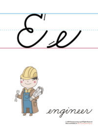 the letter e in cursive