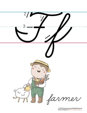 the letter f in cursive