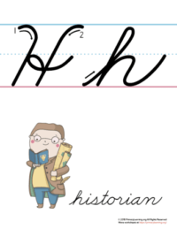 the letter h in cursive