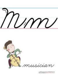 the letter m in cursive