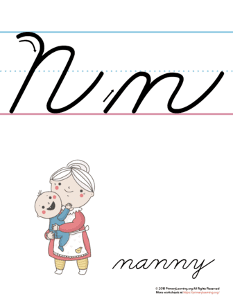 the letter n in cursive