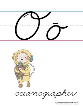 the letter o in cursive