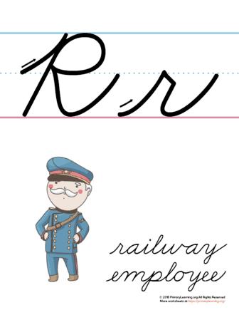 the letter r in cursive