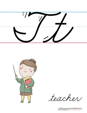 photo relating to Letter T Printable referred to as The Letter T Inside of Cursive - Printable Poster