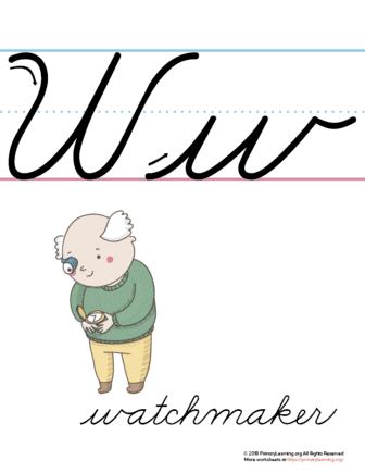 the letter w in cursive