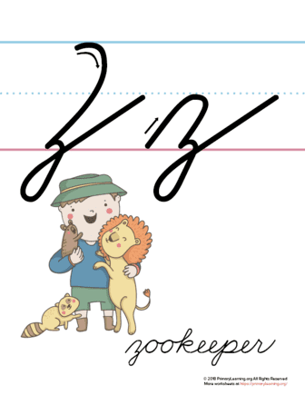 The Letter Z In Cursive - Printable Poster | PrimaryLearning.org