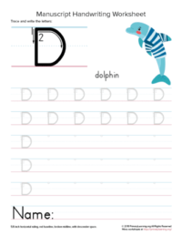 tracing letter d