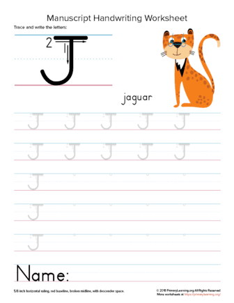 tracing letter j