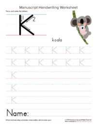 tracing letter k