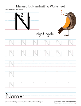 tracing letter n