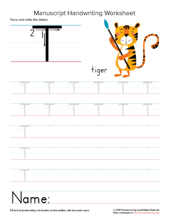 tracing letter t