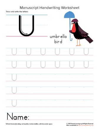 tracing letter u