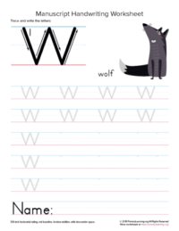 letter w handwriting practice