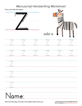 tracing letter z
