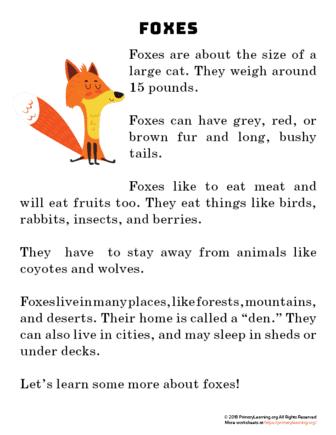 fox reading passage