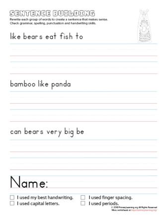 sentence building bear