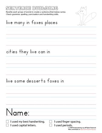 sentence building fox