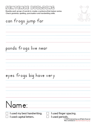 sentence building frog