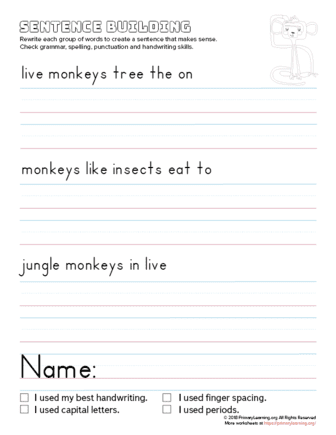 sentence building monkey