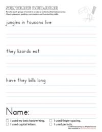 sentence building toucan
