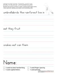 sentence building umbrellabird