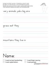 sentence building yak