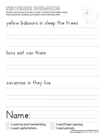 sentence building yellow baboon