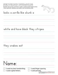 sentence building zorilla