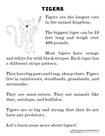 tiger reading passage