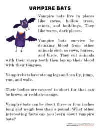 vamapire bat reading passage