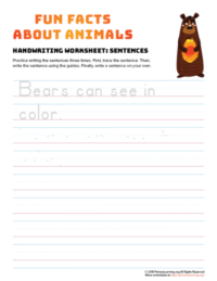 sentence writing bear