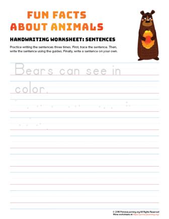 sentence writing bear