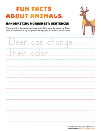 sentence writing deer