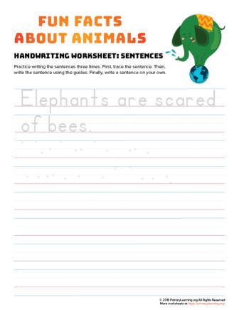 sentence writing elephant