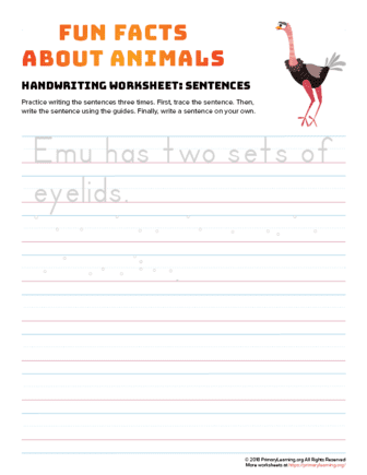 sentence writing emu