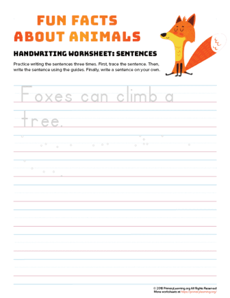 sentence writing fox