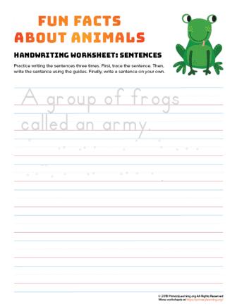 sentence writing frog