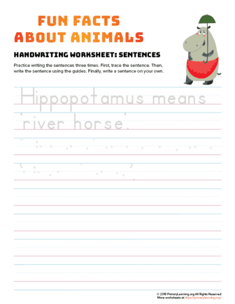 sentence writing hippo