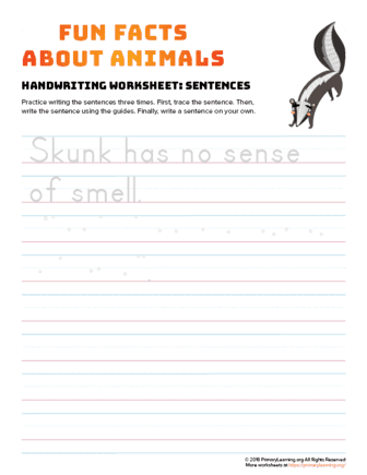 sentence writing skunk