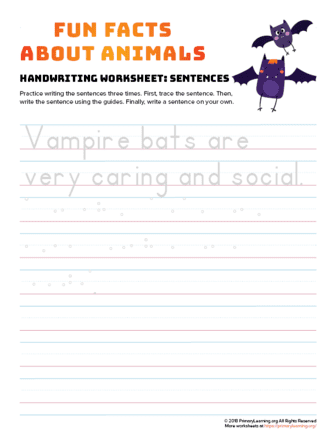 sentence writing vampire bat