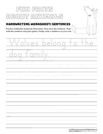 sentence writing wolf