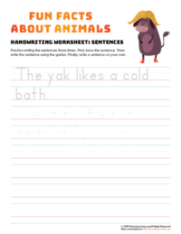 sentence writing yak