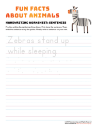 sentence writing zebra