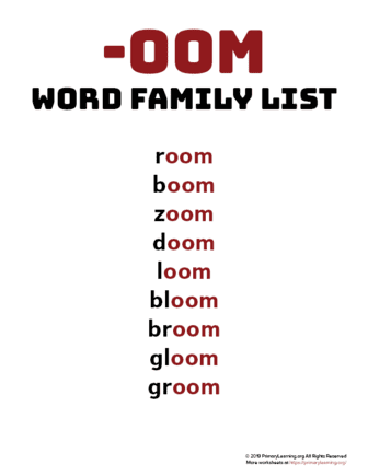 oom word family list