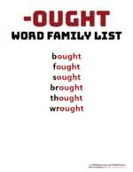 OUGHT Word Family List